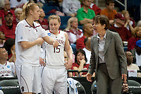 NORFOLK, VA--Tara Van derVeer calls in Taylor Greenfield against Hampton University at the Ted Constant Convocation Center at Old Dominion University in Norfolk, VA in the first round of the 2012 NCAA Championships. The Cardinal advanced with a 73-51 win to play West Virginia on Monday, March 19.