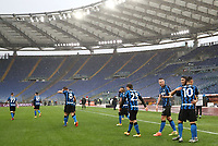 Football, Serie A: AS Roma -  FC Internazionale Milano, Olympic stadium, Rome, January 10, 2021. <br /> Inter's Achraf Hakimi (second right) celebrates after scoring with his teammates during the Italian Serie A football match between Roma and Inter at Rome's Olympic stadium, on January 10, 2021.  <br /> UPDATE IMAGES PRESS/Isabella Bonotto