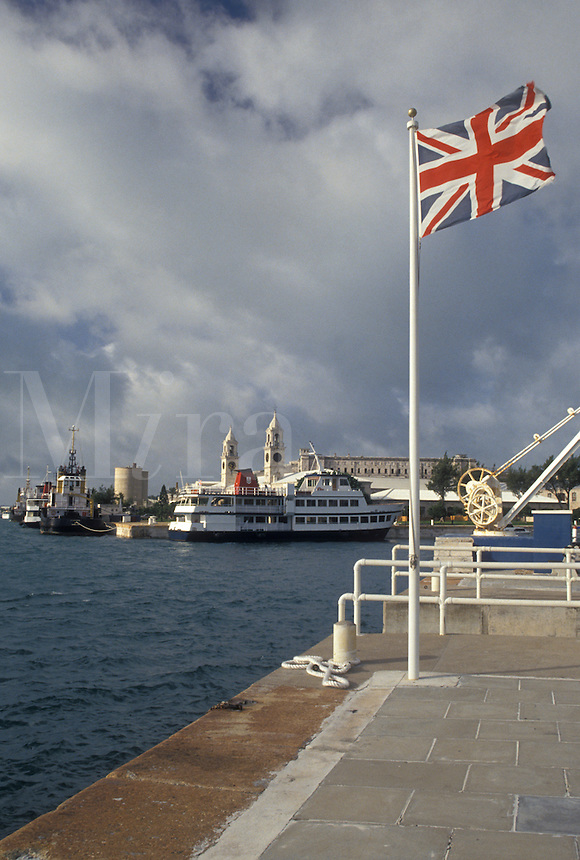 Bermuda, The West End, Sandy's Parish, The British Flag fly's at the Royal Naval Dockyard at the end of Ireland Island in Sandy's Parish in Bermuda.
