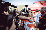 Race favourite Anna Van Der Breggen (NED) Boels Dolmans Cycling Team wins her 4th consecutive victory at La Fleche Wallonne Femmes 2018 running 118.5km from Huy to Huy, Belgium. 18/04/2018.<br /> Picture: ASO/Thomas Maheux | Cyclefile.<br /> <br /> All photos usage must carry mandatory copyright credit (© Cyclefile | ASO/Thomas Maheux)