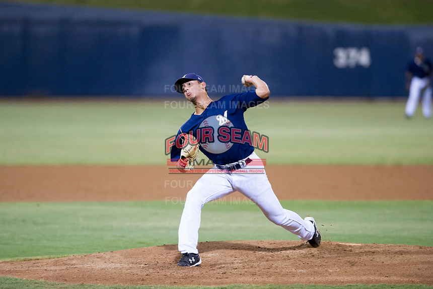 AZL Brewers relief pitcher Karlos Morales (13) delivers a pitch to the plate against the AZL Cubs at Maryvale Baseball Park in Phoenix, Arizona. AZL Cubs defeated the AZL Brewers 9-1. (Zachary Lucy/Four Seam Images)