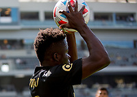 LOS ANGELES, CA - APRIL 17: Kwadwo Opoku #22 of LAFC waiting on a throw in during a game between Austin FC and Los Angeles FC at Banc of California Stadium on April 17, 2021 in Los Angeles, California.