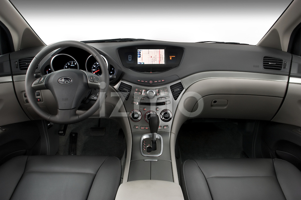 Straight dashboard view of a 2008 Subaru Tribeca SUV