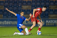 Connor Wilkinson, Leyton Orient wins a free kick following the challenge from Cohen Bramall, Colchester United during Colchester United vs Leyton Orient, Sky Bet EFL League 2 Football at the JobServe Community Stadium on 14th November 2020