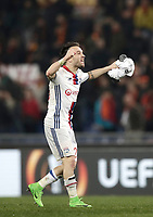 Football Soccer: Europa League Round of 16 second leg, Roma-Lyon, stadio Olimpico, Roma, Italy, March 16,  2017. <br /> Lyon's Mathieu Valbuena celebrates at the end of the Europe League football soccer match between Roma and Lyon at the Olympique stadium, March 16,  2017. <br /> Despite losing 2-1, Lyon reach the quarter finals for 5-4 aggregate win.<br /> UPDATE IMAGES PRESS/Isabella Bonotto