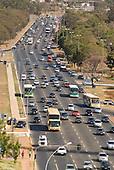 Brasilia, Brazil. Traffic on the multi-land Eixo Central.