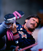 Dennis Eckersley of the Boston Red Sox plays in a baseball game at Edison International Field during the 1998 season in Anaheim, California. (Larry Goren/Four Seam Images)