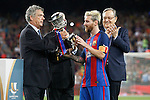 FC Barcelona's Leo Messi celebrates the victory in theSupercup of Spain in presence of RFEF's President Angel Maria Villar.August 17,2016. (ALTERPHOTOS/Acero)
