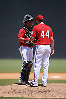 Carolina Mudcats catcher Nathan Rodriguez (9) talks with pitcher Chad Whitmer (44) during a Carolina League game against the Winston-Salem Dash on August 14, 2019 at Five County Stadium in Zebulon, North Carolina.  Winston-Salem defeated Carolina 4-2.  (Mike Janes/Four Seam Images)