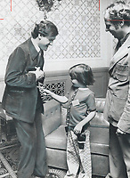 1977 FILE PHOTO - ARCHIVES -<br /> <br /> 1977 FILE -<br /> <br /> NDP leader Stephen Lewis barely got his campaign off the ground when 6-year-old Nyree Gracey tried to shoot him down. She forgetting that her ad, Dave Gracey, is on same team as the NDP candidate for Scarborough Centre.<br /> <br /> PHOTO : <br /> Bull, Ron<br /> <br /> PHOTO : Ron BULL - Toronto Star Archives - AQP