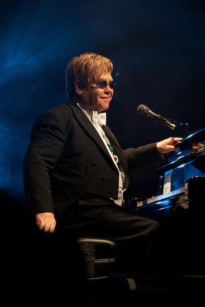 Elton John performs during his White Tie and Tiara Ball