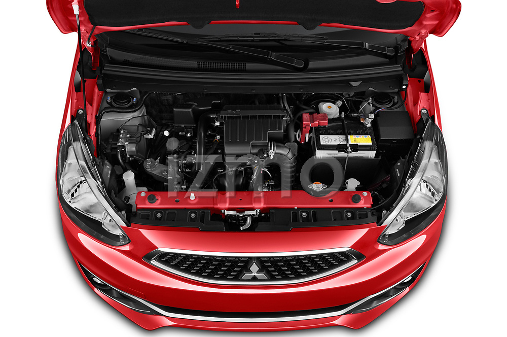 Car stock 2019 Mitsubishi Space Star Black Collection 5 Door Hatchback engine high angle detail view
