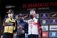 Brabantse Pijl 2021 podium:<br /> 1/ Tom Pidcock (GBR/Ineos Grenadiers)<br /> 2/ Wout van Aert (BEL/Jumbo-Visma)<br /> 3/ Matteo Trentin (ITA/UAE-Emirates)<br /> <br /> 61st Brabantse Pijl 2021 (1.Pro)<br /> 1 day race from Leuven to Overijse (BEL/202km)<br /> <br /> ©kramon