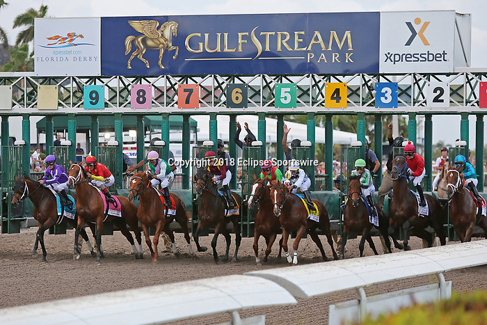 HALLANDALE BEACH, FL - MARCH 31:   #8 Audible with jockey John Velazquez on board, wins the Xpressbet Florida Derby Stakes GI at Gulfstream Park on March 31, 2018 in Hallandale Beach, Florida. (Photo by Liz Lamont/Eclipse Sportswire/Getty Images)