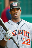 Destin Hood #22 of the Hagerstown Suns at NewBridge Bank Park July 30, 2010, in Greensboro, North Carolina.  Photo by Brian Westerholt / Four Seam Images
