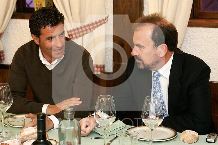 Michel (l) and Getafe's President Angel Torres..(ALTERPHOTOS/Acero).