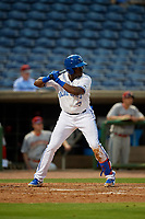 Dunedin Blue Jays right fielder Demi Orimoloye (6) at bat during a Florida State League game against the Clearwater Threshers on April 4, 2019 at Spectrum Field in Clearwater, Florida.  Dunedin defeated Clearwater 11-1.  (Mike Janes/Four Seam Images)