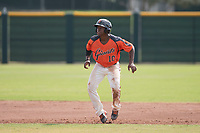 San Francisco Giants second baseman Jalen Miller (10) takes a lead off second base during an Instructional League game against the Kansas City Royals at the Giants Training Complex on October 17, 2017 in Scottsdale, Arizona. (Zachary Lucy/Four Seam Images)