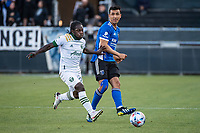 SAN JOSE, CA - MAY 15: Oswaldo Alanis #4 of the San Jose Earthquakes passes during a game between San Jose Earthquakes and Portland Timbers at PayPal Park on May 15, 2021 in San Jose, California.