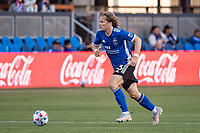 SAN JOSE, CA - MAY 15: Florian Jungwirth #23 of the San Jose Earthquakes dribbles the ball during a game between San Jose Earthquakes and Portland Timbers at PayPal Park on May 15, 2021 in San Jose, California.