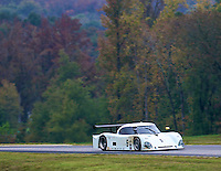The #5 Porsche Riley of David Donohue races past fall foliage during the Grand-Am Rolex Series test at Virginia International Raceway, Alton, VA , October 2010. (Photo by Brian Cleary/www.bcpix.com)