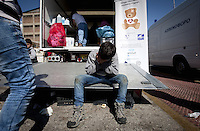 Pictured: A young boy sits down in desperation  Thursday 03 March 2016<br />