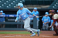 Zack Gahagan (10) of the North Carolina Tar Heels follows through on his swing against the Boston College Eagles in Game Five of the 2017 ACC Baseball Championship at Louisville Slugger Field on May 25, 2017 in Louisville, Kentucky. The Tar Heels defeated the Eagles 10-0 in a game called after 7 innings by the Mercy Rule. (Brian Westerholt/Four Seam Images)