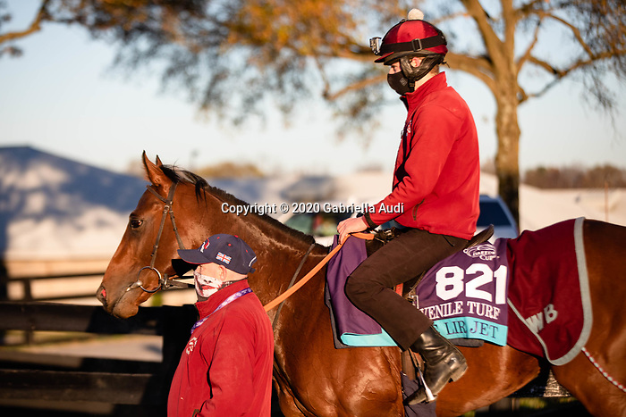 November 4, 2020: The Lir Jet, trained by trainer Michael Bell, exercises in preparation for the Breeders' Cup Juvenile Turf at Keeneland Racetrack in Lexington, Kentucky on November 4, 2020. Gabriella Audi/Eclipse Sportswire/Breeder's Cup/CSM