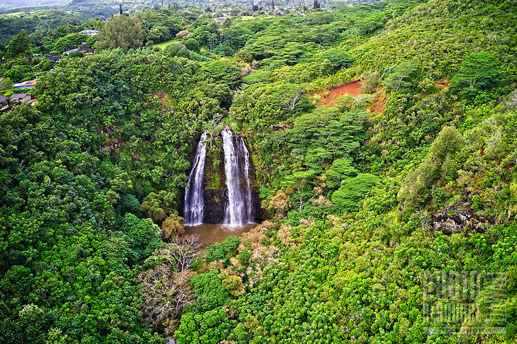 Aerial view of landmark 'Opaeka'a Falls on the Wailua River, Wailua, Kaua'i.