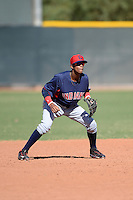Cleveland Indians shortstop Willy Castro (2) during an Instructional League game against the Texas Rangers on October 4, 2013 at Surprise Stadium Training Complex in Surprise, Arizona.  (Mike Janes/Four Seam Images)