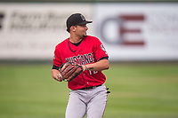 Billings Mustangs third baseman Juan Martinez (18) prepares to make a throw to first base during a Pioneer League game against the Idaho Falls Chukars at Melaleuca Field on August 22, 2018 in Idaho Falls, Idaho. The Idaho Falls Chukars defeated the Billings Mustangs by a score of 5-3. (Zachary Lucy/Four Seam Images)