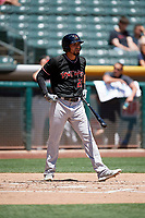 Noel Cuevas (27) of the Albuquerque Isotopes bats against the Salt Lake Bees in Pacific Coast League action at Smith's Ballpark on June 11, 2017 in Salt Lake City, Utah. The Bees defeated the Isotopes 6-5. (Stephen Smith/Four Seam Images)