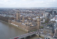 Birds eye view of houses of Parliament and Westminster from the London Eye on the South Bank of the Thames, London, England