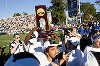 Akron Zips hoist the Championship trophy. 2010 NCAA D1 College Cup Championship Final Akron defeated Louisville 1-0 at Harder Stadium on the campus of UCSB in Santa Barbara, California on Sunday December 12, 2010.