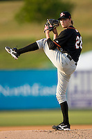Starting pitcher Jake Cowan #26 of the Delmarva Shorebirds in action against the Kannapolis Intimidators at Fieldcrest Cannon Stadium May 12, 2010, in Kannapolis, North Carolina.  Photo by Brian Westerholt / Four Seam Images