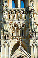 Gothic  statues and the facade of the Gothic Cathedral of Notre-Dame, Amiens, France