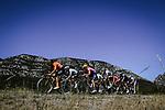 The breakaway featuring Neilson Powless (USA) EF, Greg Van Avermaet (BEL) CCC, Alexey Lutsenko (KAZ) Astana, Nicolas Roche (IRL) Sunweb, Rémi Cavagna (FRA) Deceuninck-Quick Step, Jesus Herrada (ESP) Cofidis, Edvald Boasson Hagen (NOR) NTT and Daniel Oss (ITA) Bora-Hansgrohe during Stage 6 of Tour de France 2020, running 191km from Le Teil to Mont Aigoual, France. 3rd September 2020.<br /> Picture: ASO/Pauline Ballet | Cyclefile<br /> All photos usage must carry mandatory copyright credit (© Cyclefile | ASO/Pauline Ballet)