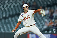 Texas Longhorns relief pitcher Cole Quintanilla (34) in action against the Arkansas Razorbacks in game six of the 2020 Shriners Hospitals for Children College Classic at Minute Maid Park on February 28, 2020 in Houston, Texas. The Longhorns defeated the Razorbacks 8-7. (Brian Westerholt/Four Seam Images)