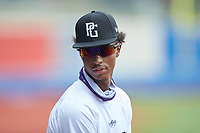 Devin Tonkins (3) of Greensboro Day High School in Greensboro, NC during the Atlantic Coast Prospect Showcase hosted by Perfect Game at Truist Point on August 22, 2020 in High Point, NC. (Brian Westerholt/Four Seam Images)