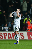 Thursday 24 October 2013  <br /> Pictured:  Alvaro Vasquez reacts to Gerhard Tremmel'a missed penalty <br /> Re:UEFA Europa League, Swansea City FC vs Kuban Krasnodar,  at the Liberty Staduim Swansea