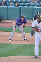 Dom Nunez (5) of the Albuquerque Isotopes takes a lead during the game against the Salt Lake Bees at Smith's Ballpark on April 27, 2019 in Salt Lake City, Utah. The Isotopes defeated the Bees 10-7. This was a makeup game from April 26, 2019 that was cancelled due to rain. (Stephen Smith/Four Seam Images)