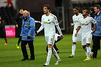 Pictured: Michu of Swansea is walking off the pitch after what seemed to be a verbal argument with Arsenal goalkeeper Lukasz Fabianski.  Saturday 16 March 2013<br /> Re: Barclay's Premier League, Swansea City FC v Arsenal at the Liberty Stadium, south Wales.
