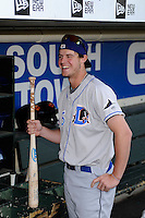 Durham Bulls outfielder Wil Myers #5 in the dugout before a game against the Rochester Red Wings on May 17, 2013 at Frontier Field in Rochester, New York.  Rochester defeated Durham 11-6.  (Mike Janes/Four Seam Images)