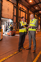 Pictured in the loading bay from left are Dave Smith and Nick Setaro from Kuehne + Nagel