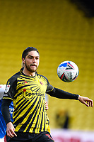 20th March 2021; Vicarage Road, Watford, Hertfordshire, England; English Football League Championship Football, Watford versus Birmingham City; Francisco Sierralta of Watford clears the ball from defence.