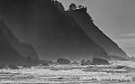 Image of Cape Falcon, Oregon Coast, black & white conversion.