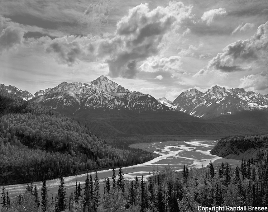 """""""Matanuska River""""<br /> Along the Glenn Highway, Alaska <br /> <br /> The Glenn Highway in southern Alaska provides drivers with spectacular views of rivers and mountains. This black and white photograph of the Matanuska River was recorded from the shoulder of the Glenn Highway during May 2016."""