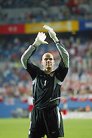 Brad Friedel applauds the crowd. The USA lost 3-1 against Poland in the FIFA World Cup 2002 in Korea on June 14, 2002.