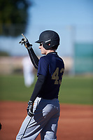 Jack Sanders (43), from Tacoma, Washington, while playing for the Padres during the Under Armour Baseball Factory Recruiting Classic at Red Mountain Baseball Complex on December 28, 2017 in Mesa, Arizona. (Zachary Lucy/Four Seam Images)