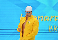 August 01, 2012..Leonardo Deus arrives to compete in Men's 200m Backstroke Semifinal at the Aquatics Center on day five of 2012 Olympic Games in London, United Kingdom.